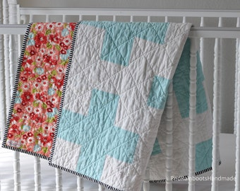 Aqua Plus Baby Crib Quilt - Modern and feminine - pink/coral backing & stripe binding
