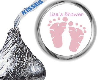 216 Pink Baby Feet Hershey Kiss Labels