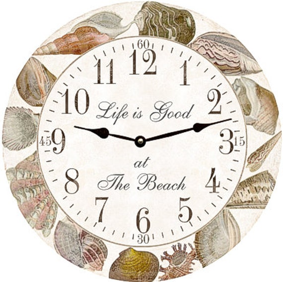 Seashell clock personalized sea shell clock for Seashell clock