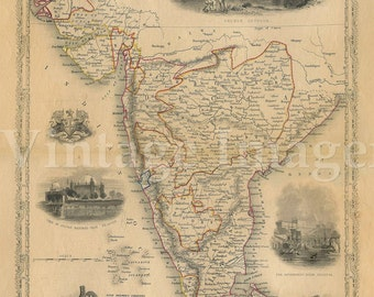 Old Map of india 1851 Southern Old India Map Indian Wall Decor Bombay Madras Restoration Hardware Style Map India Wall Art