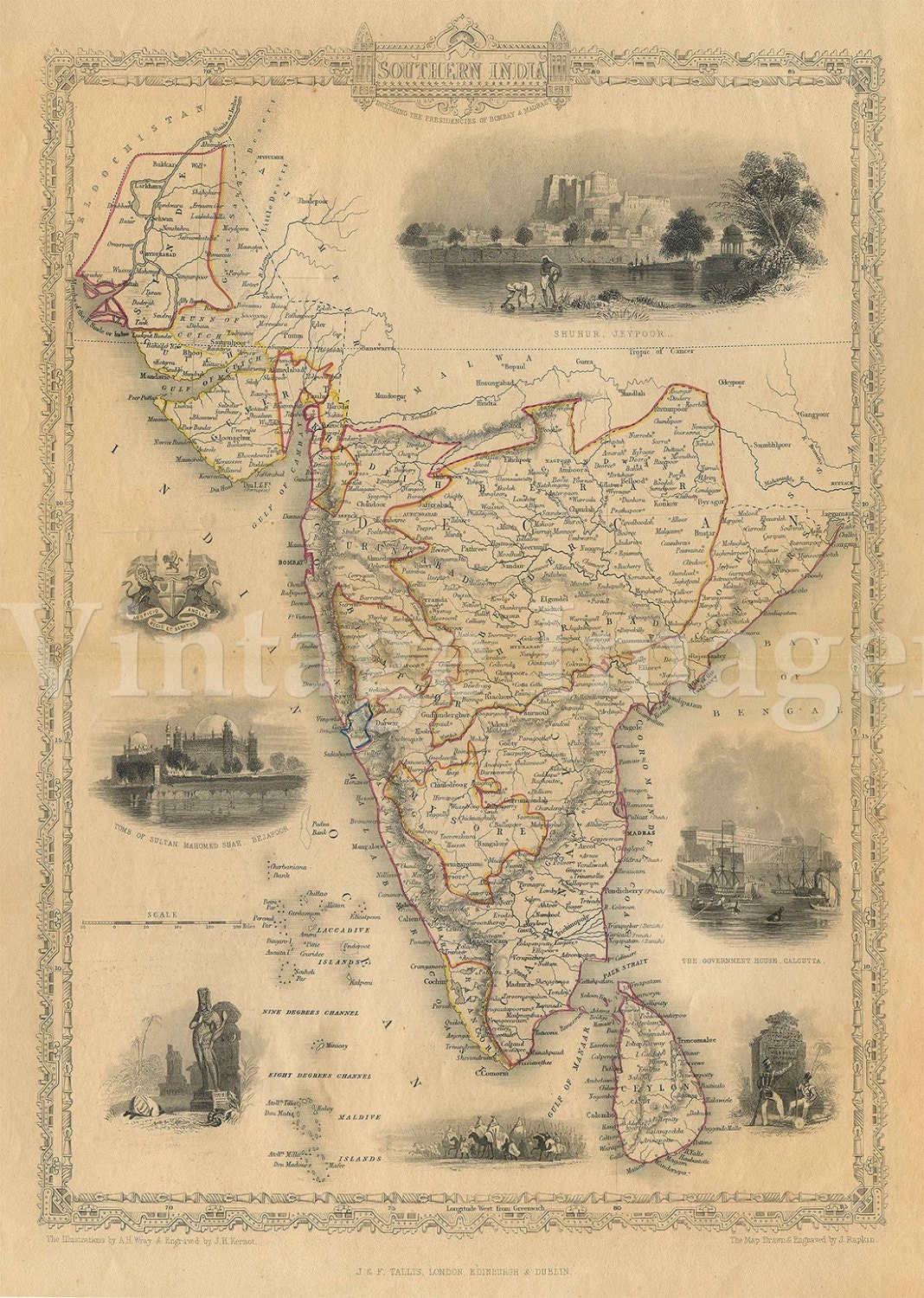 Old Map of india 1851 Southern Old India Map Indian Wall Decor