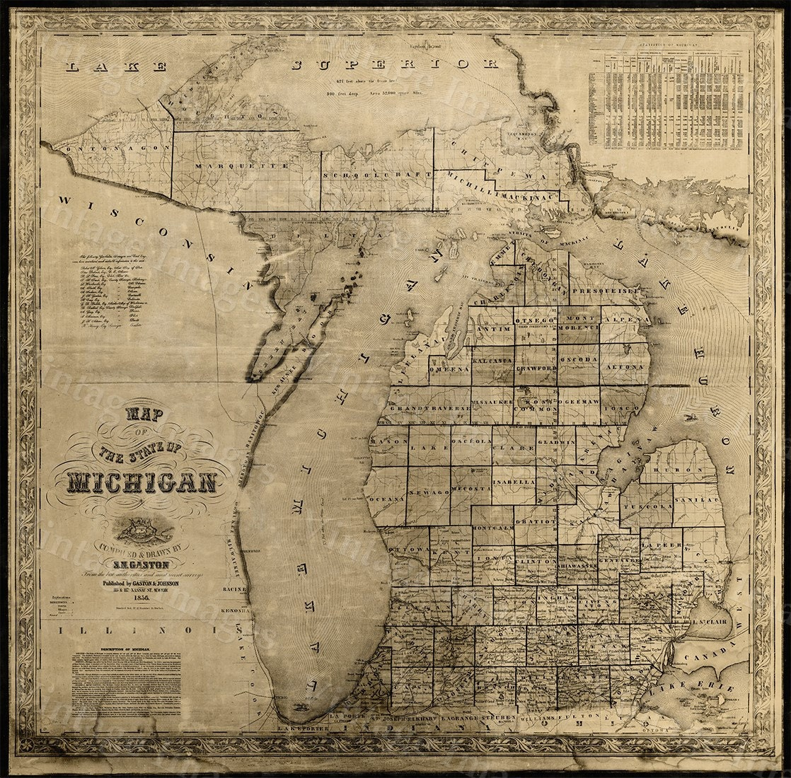 Vintage Michigan Map Vintage  Old Map Of Michigan Old - New york map restoration hardware