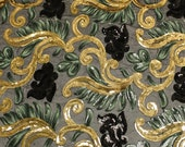Victorian Midnight Neue Floral Embroidered Sequins Fabric - Gold Jade Black - 1 yard Style 2302