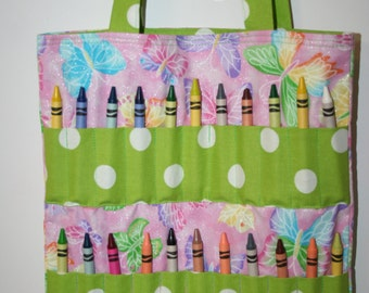 Pink Butterfly Crayon Bag