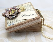 Gift Box - Christmas Gift Box - Vintage Detail - Decorative Box - Keepsake Box - Vintage Music Paper - Peace - Shabby Chic - Rustic Colors