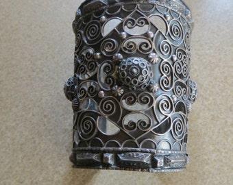 Victorian/Edvardian HUGE Sterling Filigree Cuff Bracelet 104 gr.