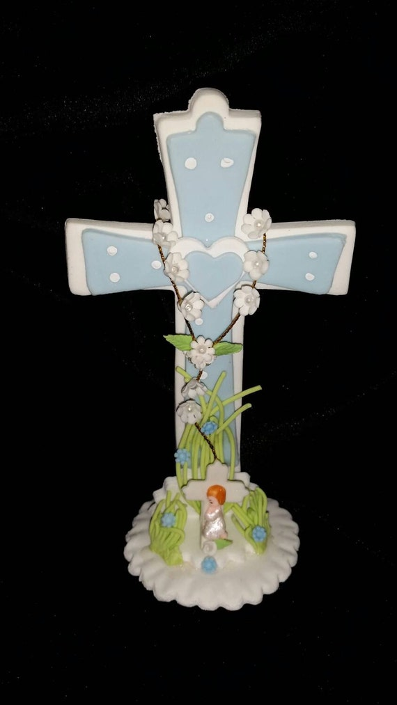 cross cake topper cross cake topper in lt blue for boy boy cake topper 3193