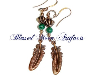 Copper and Malachite Feather Earrings