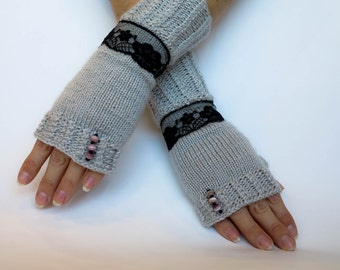 Fingerless gloves. Gray fingerless gloves with black-gray seed pearls and black laces. Knitted fingerless gloves. Laces gloves. Arm warmers