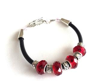 Red crystal European bead rubber cord bracelet