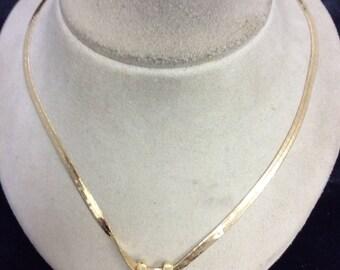 Vintage Rhinestone Slide Pendant Necklace