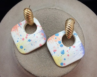 Vintage Colorful Speckled Dangle Earrings