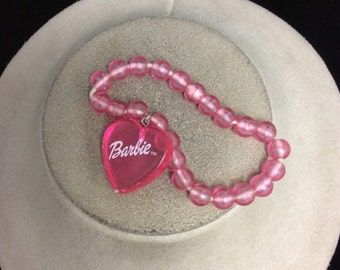 Vintage Pink Barbie Heart Charm Bracelet