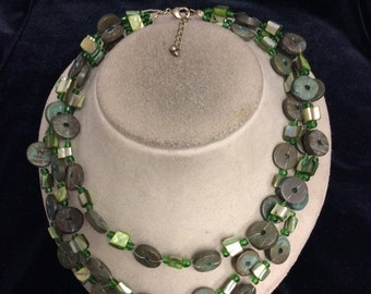 Vintage Triple Stranded Shades Of Green Necklace