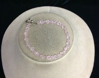 Vintage Pink Glass Toggle Bracelet