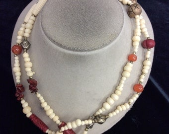 Vintage Long Off White Gold Orange & Red Glass Beaded Necklace