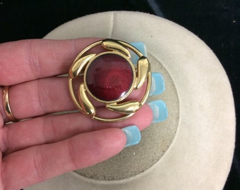 Vintage Red Enameled Pin/Pendant