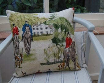 Hand made Horse & Hounds Cushion by Hilly Horton Home
