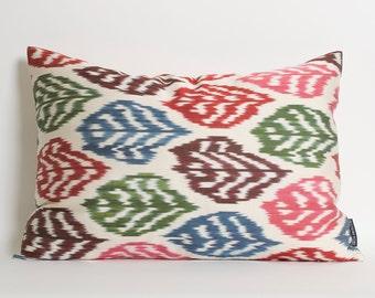 Ikat Pillow Cover - Throw Pillow Ikat - Decorative Throw Pillow Ikat - Green, Blue, Pink, Red, Ivory Accent Pillow Ikat