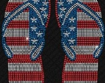 USA Flip Flops Rhinestone Iron On Transfer