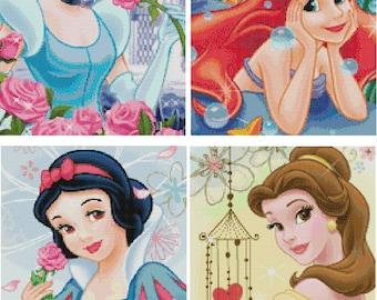 4 Set Disney's Princesses Cross Stitch Pattern-Cinderella, Little Mermaid, Belle, Snow White
