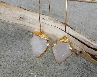 Arrowhead Earring, quartz, earring, gold