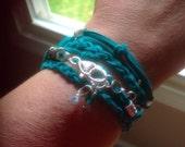 Teal Boho Triple Wrap Bracelet-Bohemian Boho-friendship-Awareness-Ovarian Cancers-Anxiety Disorder-Tourette-Sexual Abuse-Stress Disorder