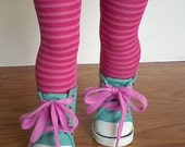 Pink Striped Tights for 18 inch Girl Dolls, Perfect Fit Doll Hose, accessory, pantyhose, Valentine's Day, American made