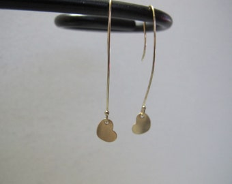 Delicate Heart Yellow Gold Earrings