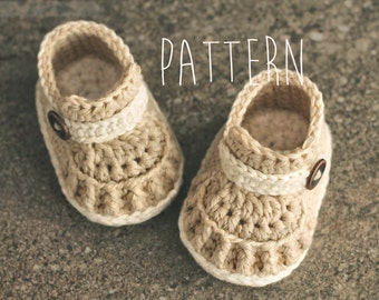 "Crochet Pattern ""Tiber Loafer"" baby boys crochet booties pattern, PATTERN ONLY"
