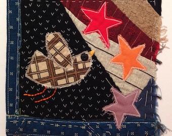 Textile art bird, wall art bird, fibre art bird, embroidery art, mini quilt, art quilt, antique patchwork quilt, textile wall hanging, stars