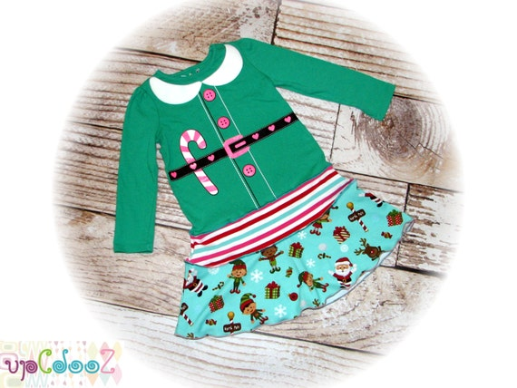 Girls size 4T  Upcycled GUC Little Elf T- Shirt Dress 12 x 24