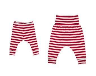 Baby Leggings, Toddler Leggings, Girls Leggings, Boys Leggings, Baby Harem Pants, Toddler Harem Pants, Yoga Pants, Red and White Stripe