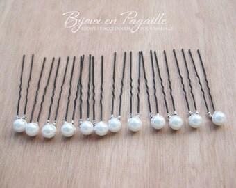 12 bridal hair pins - Wedding hair accessory - white or ivory pearls  -