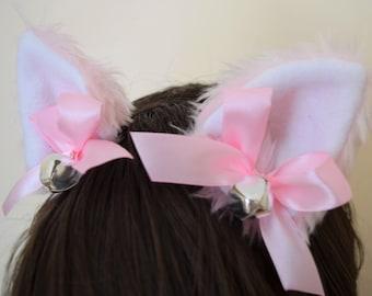 Pink White Bow Silver Bells Furry Cosplay Cat Neko Ears Ribbons Headband Hairband Hair Clips Kawaii Halloween Costume Festival Fursuit Cute