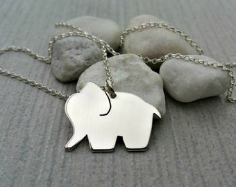 Handcut sterling silver elephant pendant