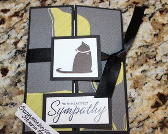Stampin Up Homemade Greeting Card Cat Sympathy Card 3415