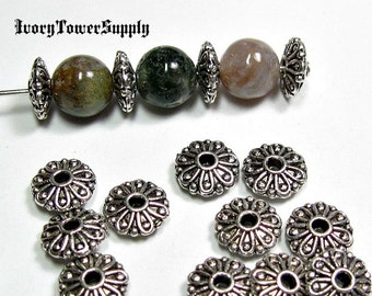 50 Flower Spacers Beads, Metal beads, Antique Silver Beads