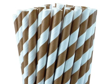 25 Chocolate Brown Stripe Paper Straws-7.75 Inches-Party Straws-Wedding-Party-Biodegradable-Chocolate Milk Straws