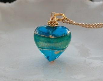 Blue Heart Necklace - Venetian Murano Glass