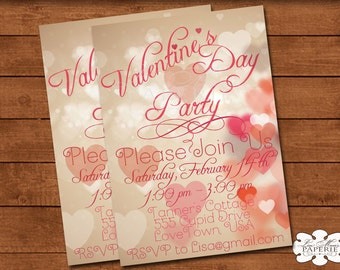 valentines day party invitation, valentines invitation, handmade valentine bokeh digital invitation - Digital File - DIY PRINTABLE