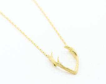 Antler gold plated necklace pretty, lovely, cute jewelry