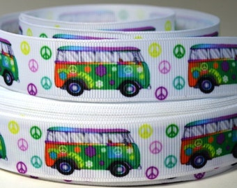 "7/8"" VW Bus Grosgrain Ribbon"