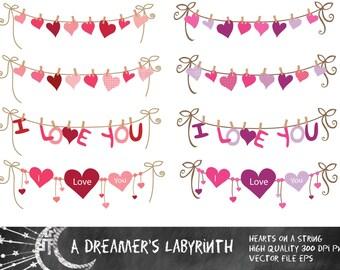 Hearts on a String Digital Clip art