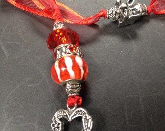 Ribbon beaded Bookmark--heart