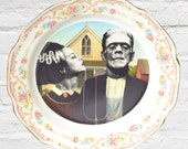 "American Gothic Bride & Frankenstein on a Modified Decorative Vintage Plate -9"" Plate"