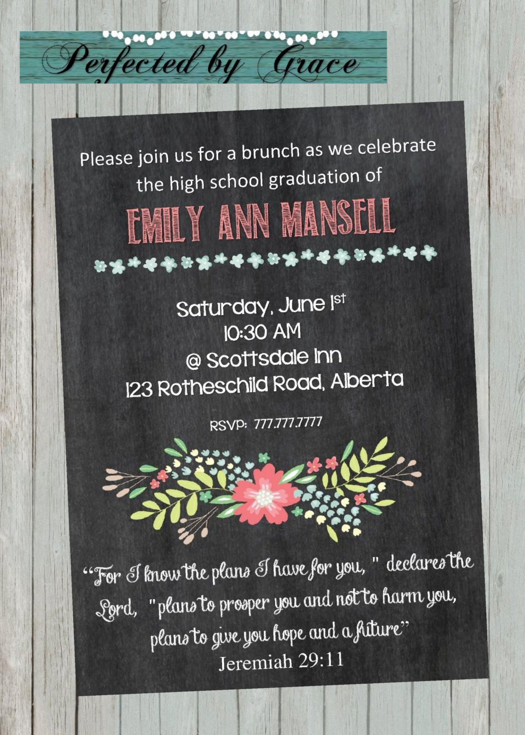 graduation brunch with chalkboard background invitation for a