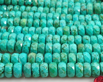 15 inhes of Chinese Turquoise faceted rondelle beads in 5x8mm