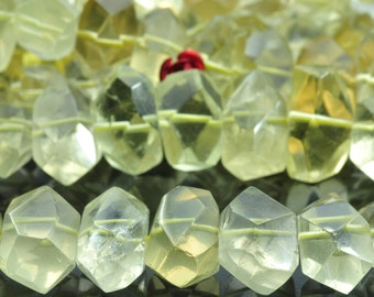 15.5 inches of  Natural Lemon Quartz faceted nugget beads in 10x13mm-12x18mm
