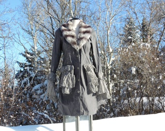 Bohemian Steampunk Coat Bustle Upcycled Jacket Victorian Wedding Coat